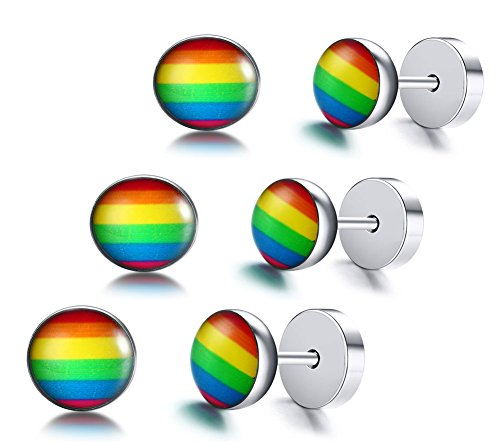 XUANPAI 3 Pcs Stainless Steel Gay Pride Flag Symbol Stud Earrings for Gay & Lesbian