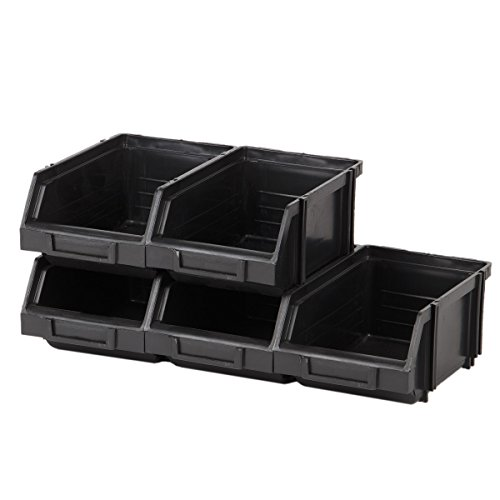 5 Stück modulare Regalboxen 1 Liter Stapelboxen Sichtlagerkasten Regalkiste Schwarz