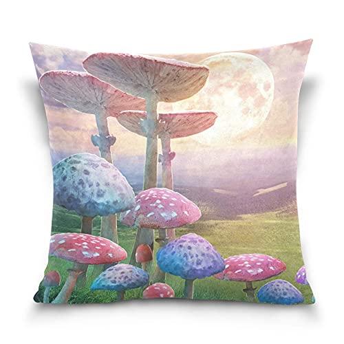 cuadrado decorativo fundas de almohada paisaje fantástico setas niebla cremallera suave Funda Cojin funda de almohada para sofá cama de 45x45 CM