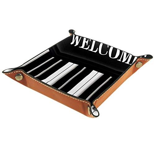 Kleine Aufbewahrungsbox,Herren-Valet-Tablett,Musik-Klavier-Musiknoten Willkommen,Leder Catchall Organizer für Coin Box Key Schmuck