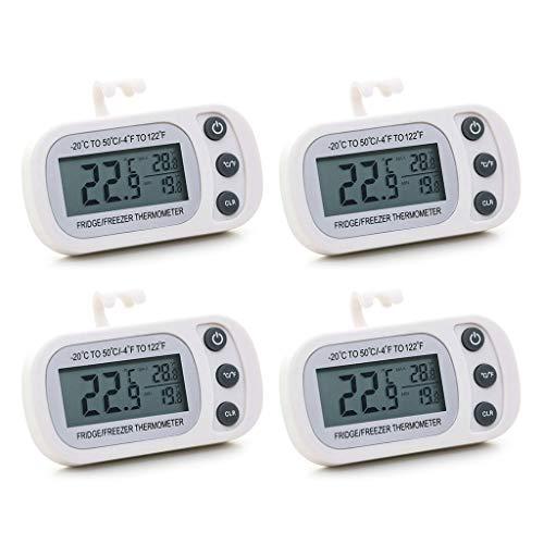 PHILSP Termómetro Digital para refrigerador y congelador, Paquete de 4 medidores Digitales, función de Registro máximo/mínimo con Lar White