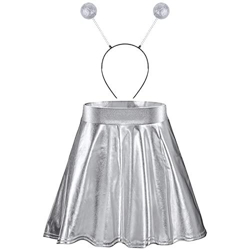 Halloween Alien Headband Antenna Ball Bopper and Metallic Skirt Flared Pleated Skater Skirt for Halloween Supplies (Medium Skirt, Silver)