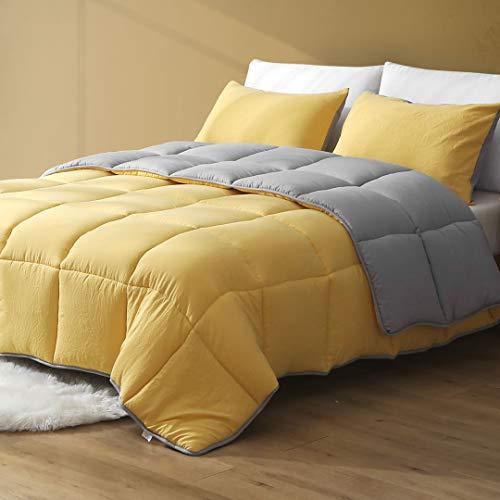DWR All Season Reversible Down Alternative Comforter Duvet - 3pcs Ultra-Soft Air-Fluffy Cloud Breathable Eucalyptus Microfiber Comforter Set with Shams (Full/Queen, Yellow/Grey)