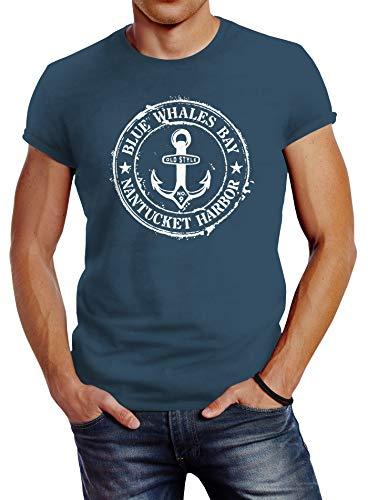 Neverless® Herren T-Shirt Anker Motiv maritim Retro Badge Vintage Anchor Print Denim Blue L