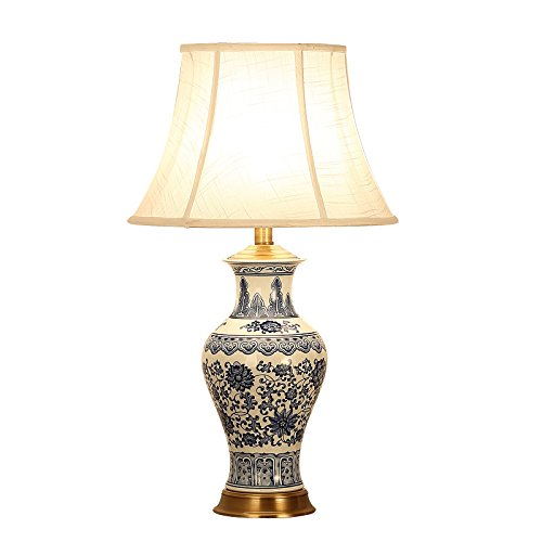 HZS Lámpara de Mesa de cerámica clásica China Lámpara de Mesa de cerámica Moderna simplificada Grande de la Sala de Estar (Color : A)
