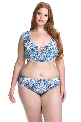 Becca Etc by Rebecca Virtue Women's Plus Size Ruffle Bralette Bikini Top Multi 0X