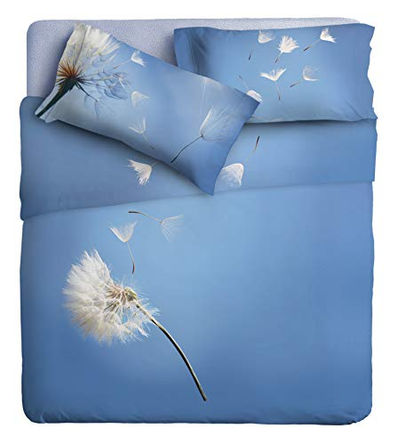 Ipersan Bettwäsche-Set, Fotodruck Fine-Art, Organic Baumwolle, Hellblau, Doppelbett