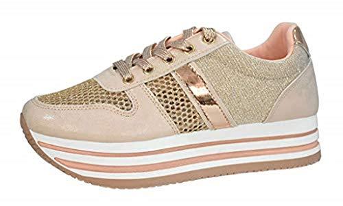 ROXY ROSE Women's Platform Sneakers Breathable Knitting Glitter Mesh Non-Slip Walking Shoes (Rose Gold,9 B(M) US)