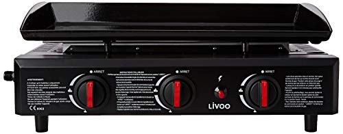LIVOO DOC105N - Plancha de gas, color negro