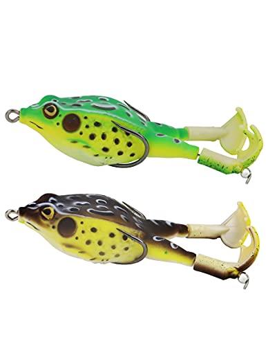 Avlcoaky Frog Lure Double Propeller Frog Soft Bait, Topwater Bass...
