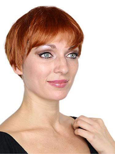 Prettyland Braun-Orange gesträhnt Kurz-Haar Perücke Unisex Damen & Herren Stufen-Schnitt Glatt Trendy Pixie Cut Frisur C612