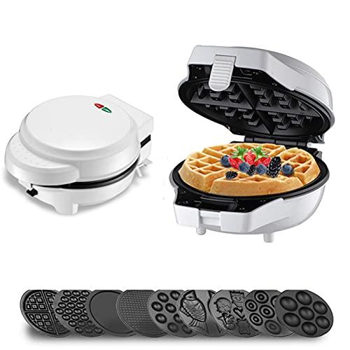 Maquina De Gofres Acero Noxidable Waflera Con Moldes Antiadherentes Y Cocción Profunda Ideas Recetas Temperatura Ajustable (5juegos,White)