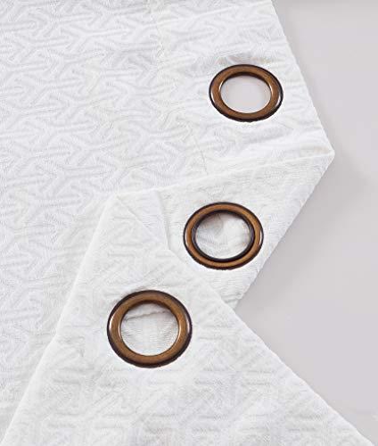 PimpamTex - Cortinas Jacquard Semi Opacas para Salón, Dormitorio y Habitación, con 8 Ojales, 140 x 260 cm, Modelo Jacq. Chenilla Flecha - (Natural, 1)