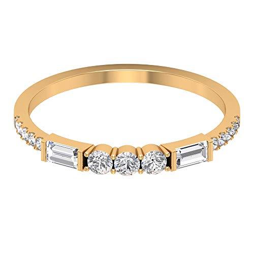 Anillo de media eternidad, anillo de boda de diamantes de 0,53 quilates, diamante de forma redonda baguette, anillo minimalista de dama de honor, 14K Oro amarillo, Size:EU 68