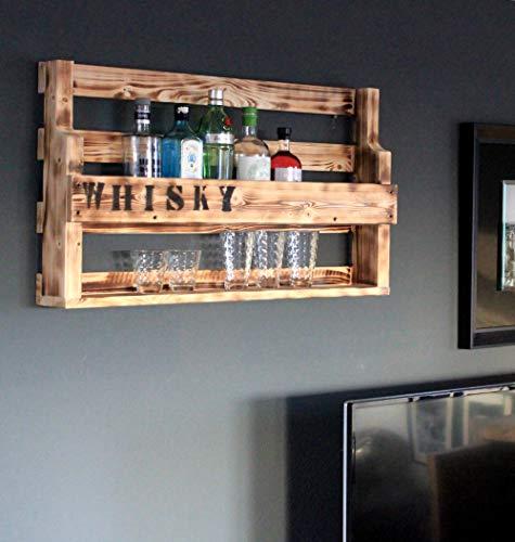 Dekorie Whisky Regal aus Holz - mit Gläserhalter und Whisky Schriftzug - Braun (geflammt) - Industrie Stil - fertig montiert - Wandbar - Whisky-Regal aus Holz