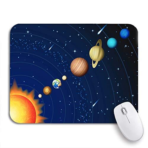 Mausemat Planet Sonnensystem Saturn Galaxie Jupiter Merkur Meteor Pluto Standardgröße Mausmatte Computertisch Gedrucktes Retro Büro Rutschfest Diy Langlebige Spielmatte Personalis