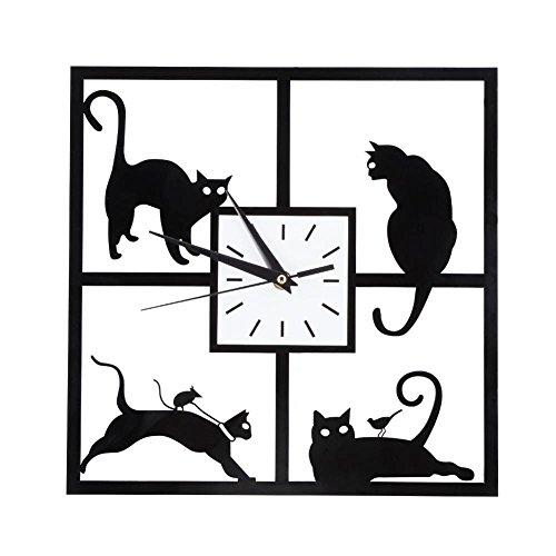 Orologio da Parete Gatto Nero Stile Semplice Orologio a Muro Gattino Carino Animale Creativo per Casa Ufficio Caffè Hotel Ristorante Decorazione Silenziosa