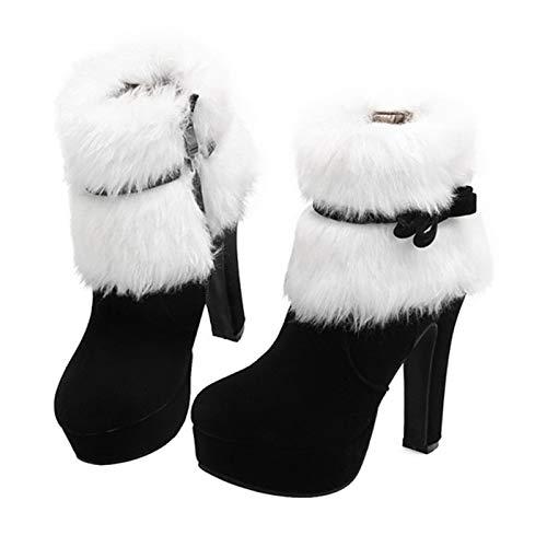 RNICE Festive Heels Weihnachten Winter Wildleder High Heels Stiefel Plateau Kurz Plüsch Schleife Seitlicher Reißverschluss Damen Stiefel