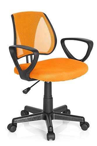 hjh OFFICE 725107 Kinder- und Jugenddrehstuhl KIDDY CD Netzstoff Orange höhenverstellbare Rückenlehne, Stuhl mit Armlehnen