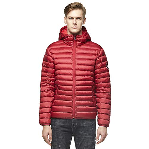Extreme Pop Men's UK Pure Goose Down Hooded Jacket (S, Red wine1)