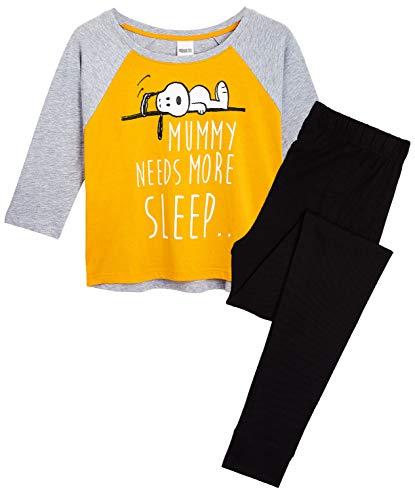 Peanuts Snoopy Schlafanzug Damen, Baumwolle Lang Pyjama Damen, Zweiteilig Lustige Schlafanzug Set, Freizeitanzug für Teenager, Hausanzug Damen, Geschenke für Frauen (L)