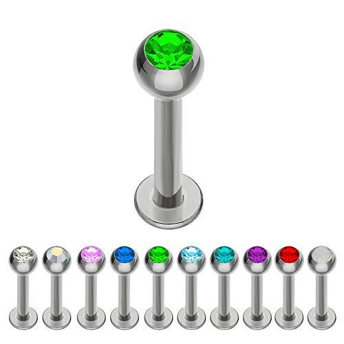 Treuheld® | Silbernes Titan LABRET Piercing mit KRISTALL - [75.] 1.2 x 6 mm (Kugel: 2.5mm) - grün