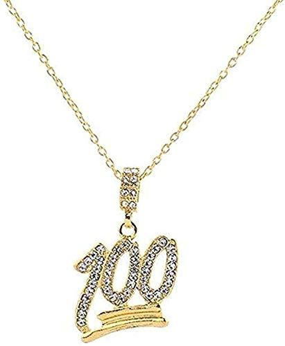 Collar Nombre personalizado Diamante de imitación Letra YRN Colgante Cadena Figura 100 Collares pendientes Hombres Circón Joyería de Hip Hop Oro Cadena de plata Regalo para mujeres Hombres Regalo