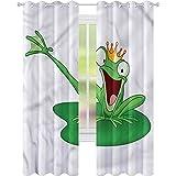 Cortinas opacas con diseño de rana feliz, príncipe con corona, 42 x 72 de ancho y 72 de largo para oscurecer la habitación de los niños