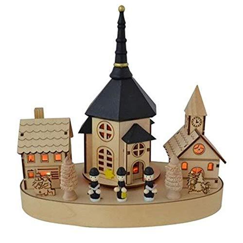 BURI Weihnachten Kirche 4 LED Musik drehend Holz 25x13,5 mit Spieluhr Weihnachtsdeko