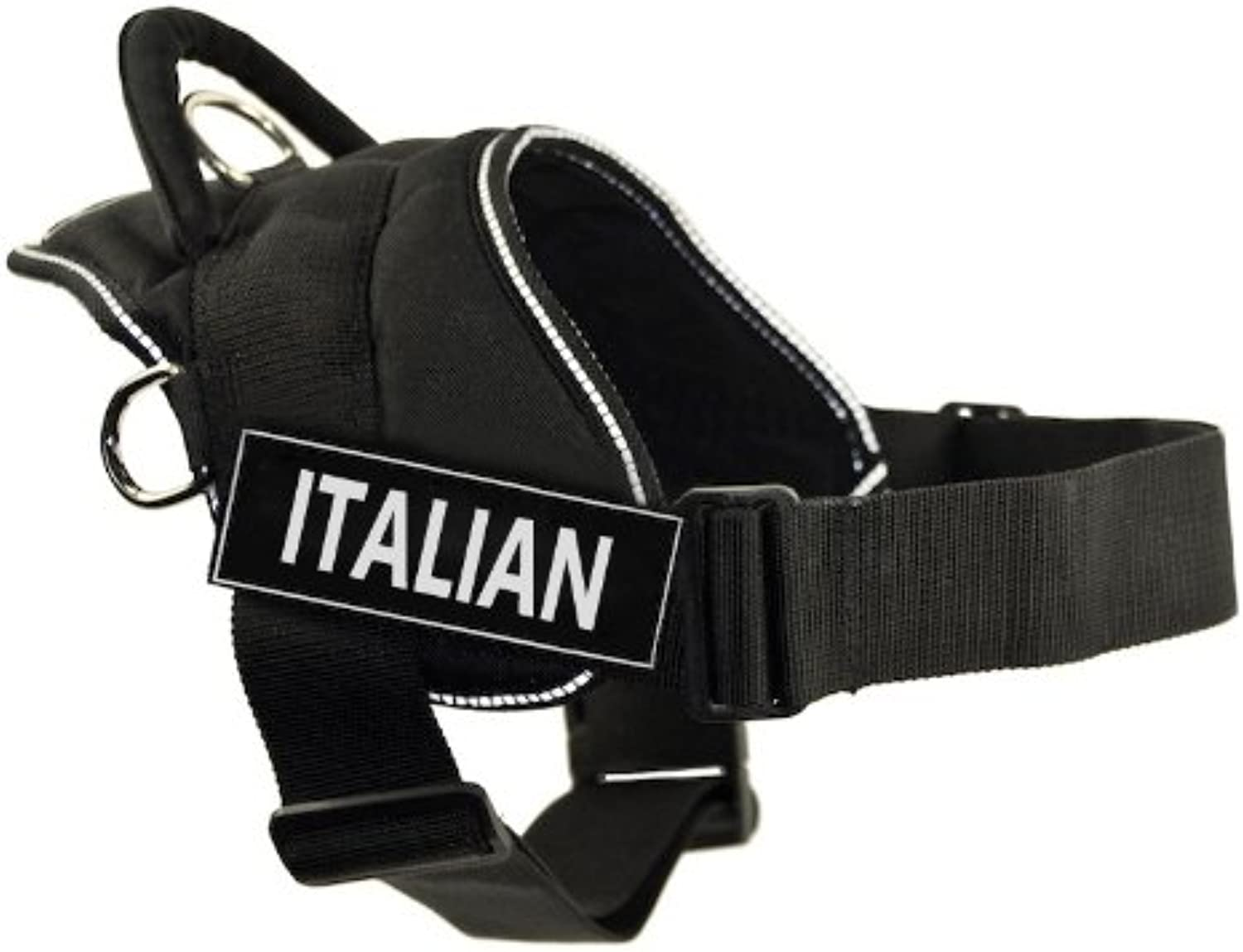 Dean & Tyler DT Fun Harness, Italian, Black With Reflective Trim, XSmall  Fits Girth Size  20Inch to 23Inch