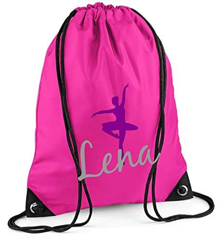 Turnbeutel mit Namen | inkl. NAMENSDRUCK | Motiv Ballett-Tänzerin | Personalisieren & Bedrucken | Sportbeutel Mädchen Kinder pink Ballerina lila (pink)