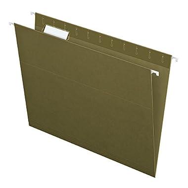 Pendaflex Recycled Hanging file Folders, Letter Size, Standard Green, 1/5 Cut, 25 per box (81602)