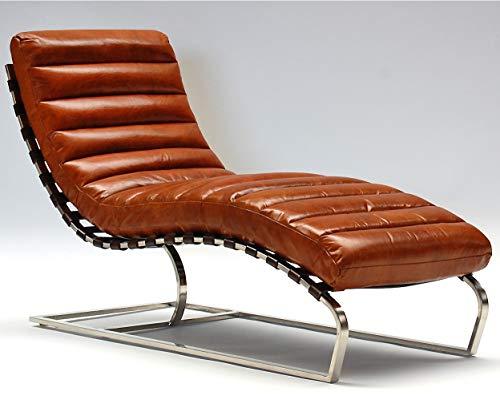 Phoenixarts Chaise Echtleder Vintage Leder Relaxliege Braun Design Recamiere Liege Sessel Chaiselongue Ledersessel NEU 536