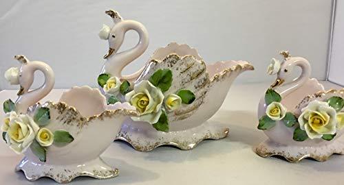 Lefton Swan Porcelain Figurine Bundle of 3 Vintage China Figurines Swans Figures