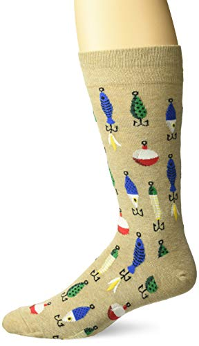 Hot Sox Men's Sealife Series Novelty Casual Crew Socks, Fishing Lures (hemp), Shoe Size: 6-12