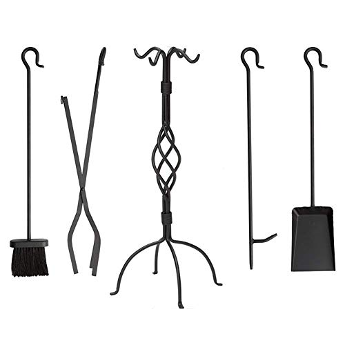 Fireplace Tools Set, 5 Pieces Wrought Iron Fireset Fire Pit Poker Wood Stove Log Tongs Holder Fireplace Tool Set with Pedestal Place