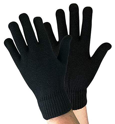 sock snob Herren Winter Warm Dünn Leicht Gestrickt Magic Thermo Wolle Handschuhe für Kalt Wetter (One Size, Wg Black)