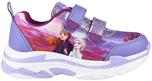 Disney Frozen - Zapatillas deportivas para niñas (2 zapatos), diseño ligero, fácil de cerrar de velcro, regalo para niñas, tamaño 9 a 1