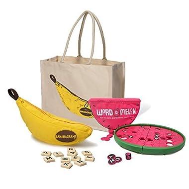 Bananagrams Juicy Games Bundle - Bananagrams and Word-a-Melon + a Tote Bag