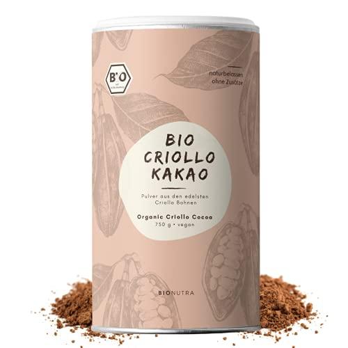 BIONUTRA® Cacao biologico in polvere 750 g latta, altamente disoleato (11% di grassi), cacao biologico in polvere senza zucchero, macinato da semi di Criollo, Limited Edition etichettato a mano