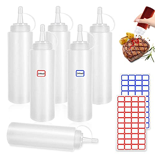 Squeeze Bottle, 6 Pcs 8oz Botella de Salsa, Dispensador de Botellas de Plástico - Ninguna Fuga, Sin BPA, para Condimentos, Salsa de Tomate, Mostaza, Mayonesa, Salsa Picante Y Aceite De Oliva