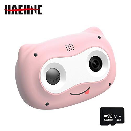 Haehne Cámara Digital para Niños, Cámara de Fotos Digital 2 Objetivos Selfie 8MP Cámara Digital, 1080P HD Videocámaras, Tarjeta TF de 8GB, para el Cumpleaños de Niños y Niñas, Rosa