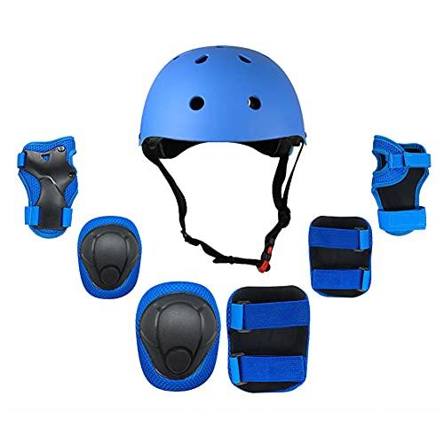 LFFME Juego De Equipo De Protección para Niños, Juego De Casco Ajustable para Niños 7 En 1 para Patinaje, Patineta, Scooter, Bicicleta,C,S