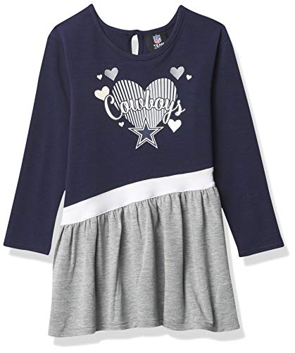 Dallas Cowboys NFL Girls Diamond Dress/All Hearts Toddler, Navy/Gray/White, 2T