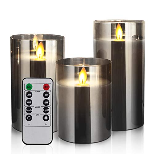 LED Candles Flameless Candles 4'5'6' Set of 3 Real Wax Light, Battery Operated Candles Gray Glass Pillars Realistic Flickering Wick Flame Mood, Lantern Candles with Remote Control 24 Hour Timer