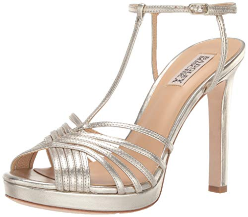 Badgley Mischka Women's Angelica Heeled Sandal, Platino Leather, 6.5 M US
