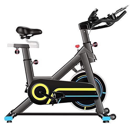 JACKCOMCOM Heimtrainer, Indoor Cycling Bike Fitnessbike Mit Herzfrequenzmonitor & LCD Monitor, Bequeme Sitzkissen, Schwere Schwungrad Upgrade Version, Multi-Grips