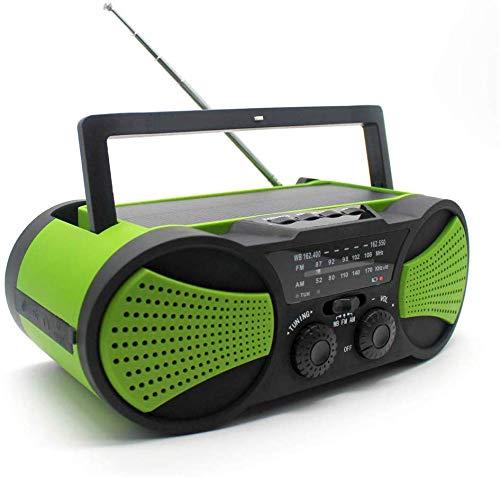 General Urgence Solaire Manivelle Radio Portable Radio Météo Ménage Et Urgence Extérieure avec AM/FM, Lampe De Poche LED, 4000Mah Power Bank