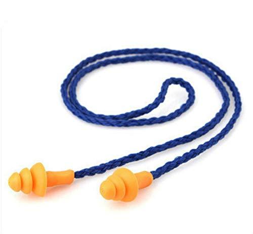 10 tapones para los oídos con cable de silicona suave para los oídos, reutilizables, protección auditiva, reducción de ruido, orejeras