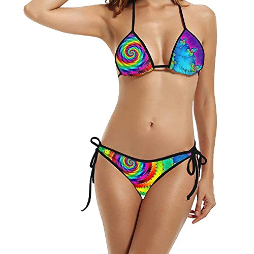 Ropa De Playa Colorful Rainbow Spiral Bikini Set Traje De Baño con Almohadilla para El Pecho Regalo De Cumpleaños Divertido Verano Cómodo Hermosos Trajes De Baño Sexy Piscina De Mo